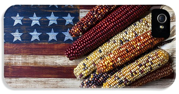 Indian Corn On American Flag IPhone 5 Case by Garry Gay