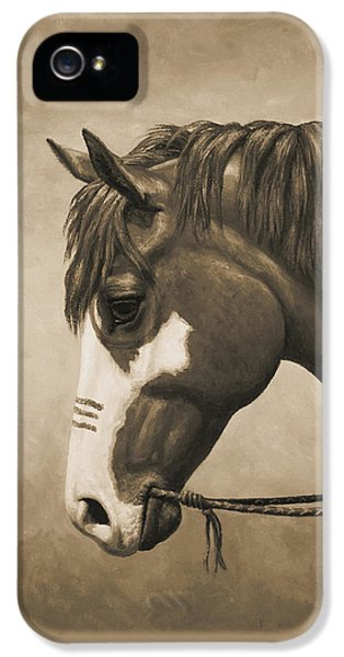 Indian Pony War Horse Sepia Phone Case IPhone 5 Case by Crista Forest
