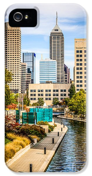 Indianapolis Skyline Picture Of Canal Walk In Autumn IPhone 5 Case by Paul Velgos
