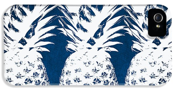 Day iPhone 5 Case - Indigo And White Pineapples by Linda Woods