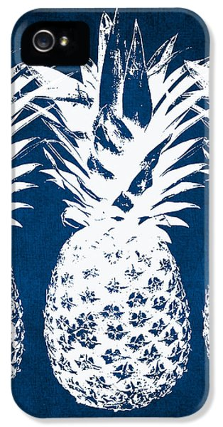 iPhone 5 Case - Indigo And White Pineapples by Linda Woods