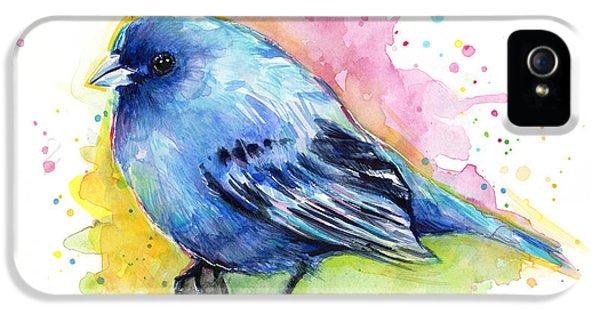 Bunting iPhone 5 Case - Indigo Bunting Blue Bird Watercolor by Olga Shvartsur
