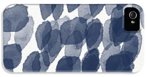 Indigo Rain- Abstract Blue And White Painting IPhone 5 Case by Linda Woods
