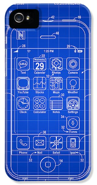 iPhone Patent - Blue IPhone 5 Case by Stephen Younts