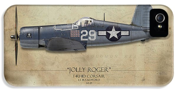 Ira Kepford F4u Corsair - Map Background IPhone 5 Case by Craig Tinder