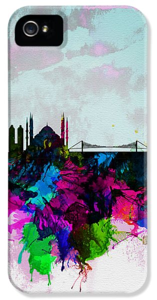 Turkey iPhone 5 Case - Istanbul Watercolor Skyline by Naxart Studio