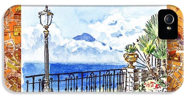Italy Sketches Sorrento View On Volcano Vesuvius  IPhone 5 Case