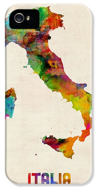 Italy Watercolor Map Italia IPhone 5 Case by Michael Tompsett