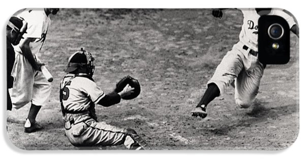 Jackie Robinson In Action IPhone 5 Case by Gianfranco Weiss