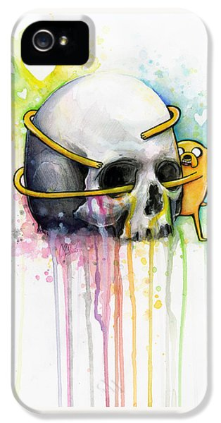 Jake The Dog Hugging Skull Adventure Time Art IPhone 5 Case by Olga Shvartsur