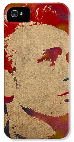 James Dean Watercolor Portrait On Worn Distressed Canvas IPhone 5 Case