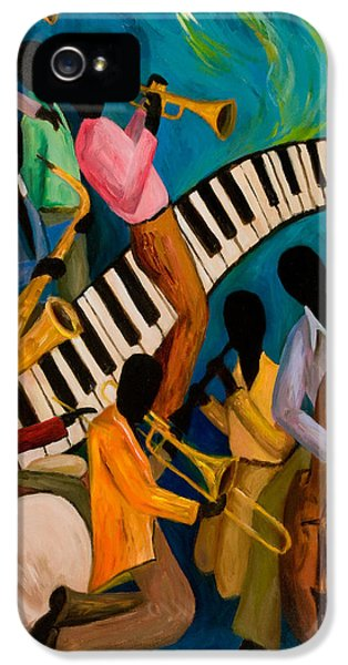 Trombone iPhone 5 Case - Jazz On Fire by Larry Martin
