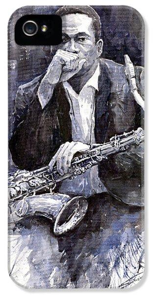 Jazz iPhone 5 Case - Jazz Saxophonist John Coltrane Black by Yuriy Shevchuk