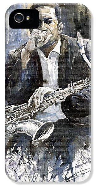 iPhone 5 Case - Jazz Saxophonist John Coltrane Yellow by Yuriy Shevchuk