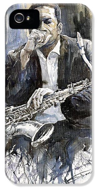 Jazz Saxophonist John Coltrane Yellow IPhone 5 Case by Yuriy  Shevchuk