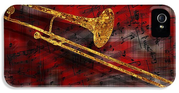 Trombone iPhone 5 Case - Jazz Trombone by Jack Zulli