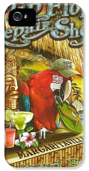 Parrot iPhone 5 Case - Jimmy Buffett's Flip Flop Repair Shop by Desiderata Gallery
