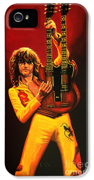 Led Zeppelin iPhone 5 Case - Jimmy Page Painting by Paul Meijering