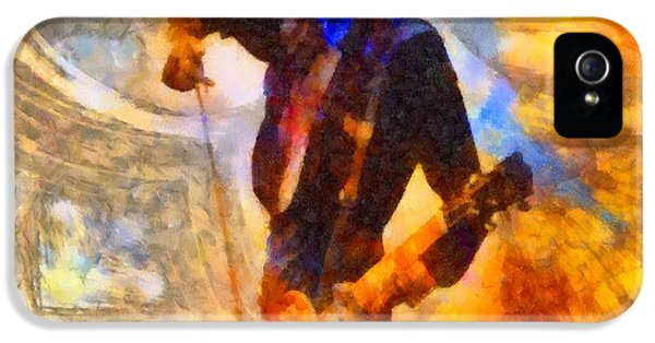 Jimmy Page Playing Guitar With Bow IPhone 5 Case by Dan Sproul