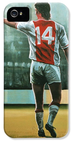 Johan Cruijff Nr 14 Painting IPhone 5 Case by Paul Meijering