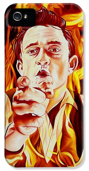 Johnny Cash And It Burns IPhone 5 Case by Joshua Morton