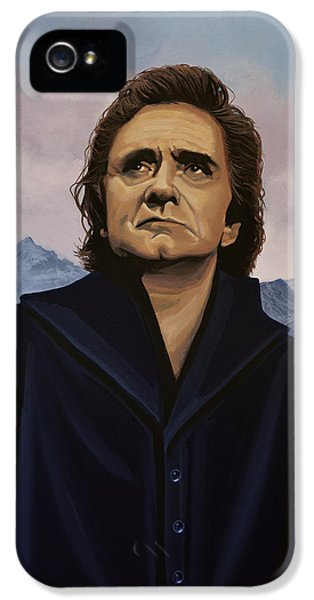 Legends iPhone 5 Case - Johnny Cash Painting by Paul Meijering