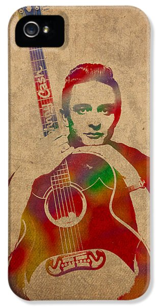 Johnny Cash Watercolor Portrait On Worn Distressed Canvas IPhone 5 Case