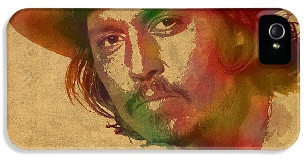Johnny Depp Watercolor Portrait On Worn Distressed Canvas IPhone 5 Case by Design Turnpike