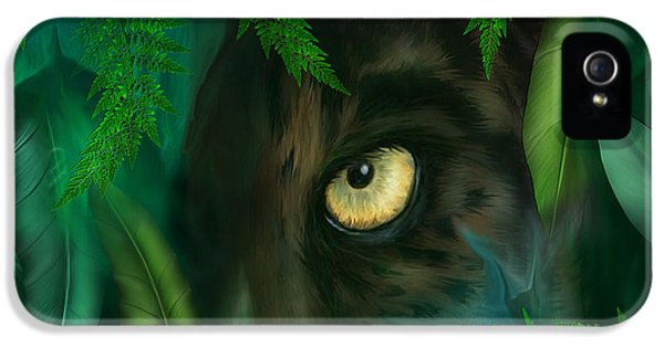 Jungle Eyes - Panther IPhone 5 Case by Carol Cavalaris