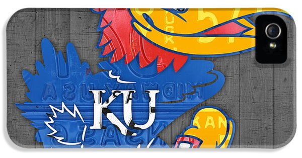 Kansas Jayhawks College Sports Team Retro Vintage Recycled License Plate Art IPhone 5 Case by Design Turnpike
