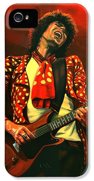 Rolling Stone Magazine iPhone 5 Case - Keith Richards Painting by Paul Meijering