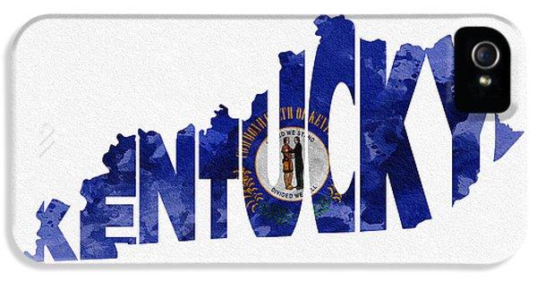 Kentucky Typographic Map Flag IPhone 5 Case by Ayse Deniz