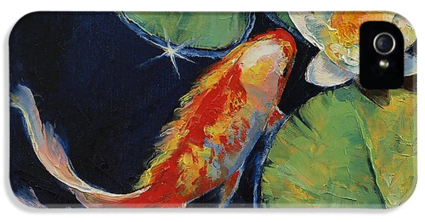 Koi iPhone 5 Case - Koi And White Lily by Michael Creese