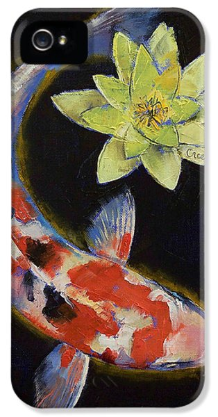 Koi With Yellow Water Lily IPhone 5 Case by Michael Creese