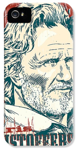 Johnny Cash iPhone 5 Case - Kris Kristofferson Pop Art by Jim Zahniser