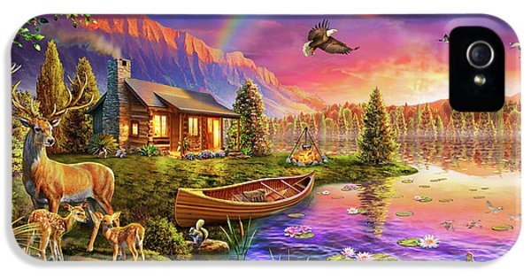IPhone 5 Case featuring the drawing Lakeside Cabin  by Adrian Chesterman