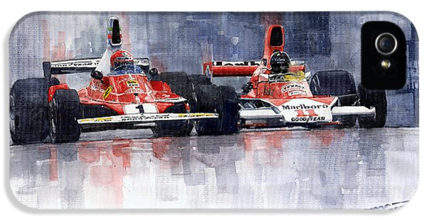 Lauda Vs Hunt Brazilian Gp 1976 IPhone 5 Case by Yuriy Shevchuk