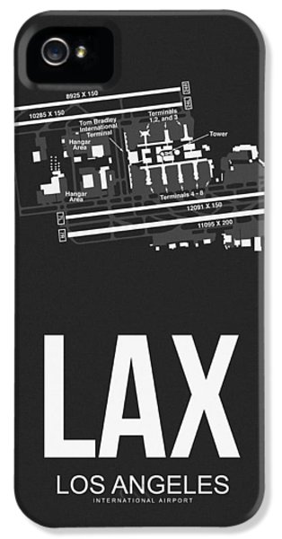 Town iPhone 5 Case - Lax Los Angeles Airport Poster 3 by Naxart Studio
