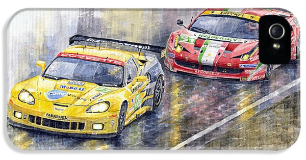 2011 Le Mans Gte Pro Chevrolette Corvette C6r Vs Ferrari 458 Italia IPhone 5 Case by Yuriy  Shevchuk