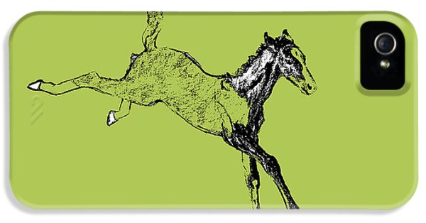 Horse iPhone 5 Case - Leaping Foal Greens by JAMART Photography
