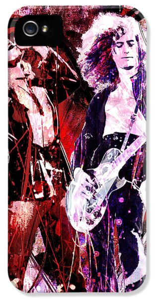 Led Zeppelin - Jimmy Page And Robert Plant IPhone 5 Case by Ryan Rock Artist