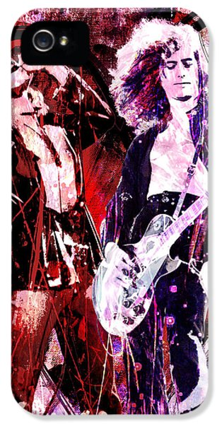 Led Zeppelin - Jimmy Page And Robert Plant IPhone 5 / 5s Case by Ryan Rock Artist