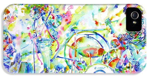 Led Zeppelin Live Concert - Watercolor Painting IPhone 5 Case by Fabrizio Cassetta