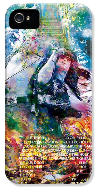 Led Zeppelin Original Painting Print  IPhone 5 Case by Ryan Rock Artist