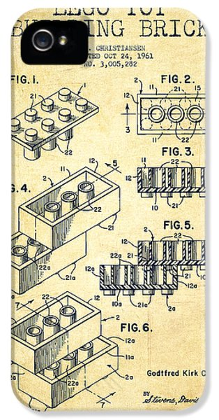 Lego Toy Building Brick Patent - Vintage IPhone 5 Case by Aged Pixel