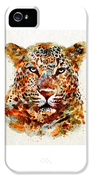 Leopard Head Watercolor IPhone 5 Case by Marian Voicu