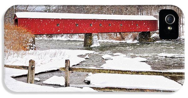 Connecticut Covered Bridge Snow Scene By Thomasschoeller.photography  IPhone 5 Case