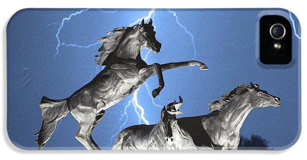 Lightning At Horse World Bw Color Print IPhone 5 Case by James BO  Insogna