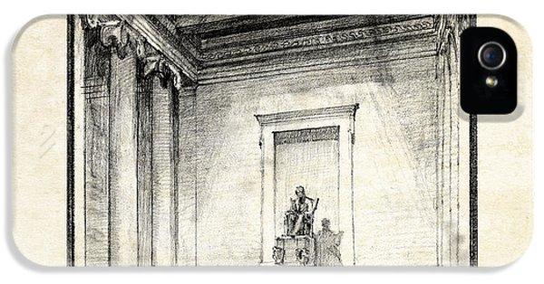 Lincoln Memorial Sketch IIi IPhone 5 Case by Gary Bodnar