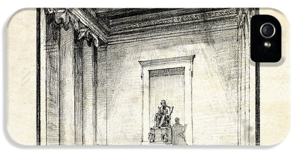 Lincoln Memorial Sketch IIi IPhone 5 Case by Gary Bodnar